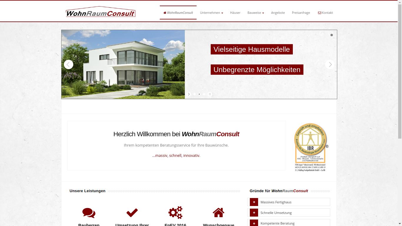Wohnraumconsult Internetpräsenz / Homepage mit Firmensoftware / Firmenprogramm